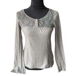 Anthropologie Eloise Grey Long Sleeve with Lace Detail